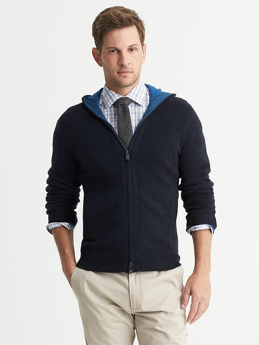 Banana Republic Cashmere Hooded Cardigan - Navy heather - Banana Republic Canada