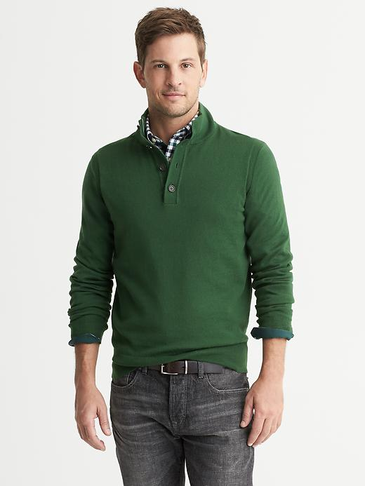 Banana Republic Cotton/Cashmere Button Mock - Intense green - Banana Republic Canada