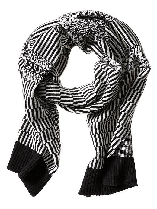 Banana Republic Striped Extra Fine Merino Wool Scarf - Black - Banana Republic Canada