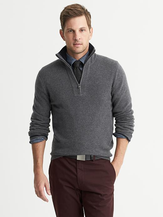 Banana Republic Cashmere Half Zip Pullover - Charcoal heather - Banana Republic Canada