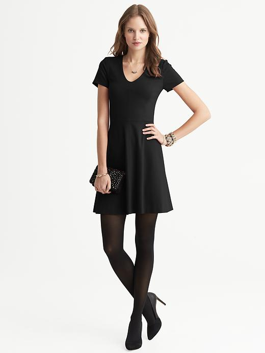 Banana Republic Seamed Ponte Fit And Flare V Neck Dress - Black - Banana Republic Canada