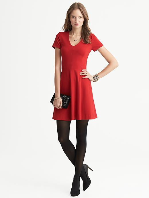Banana Republic Seamed Ponte Fit And Flare V Neck Dress - Saucy red - Banana Republic Canada