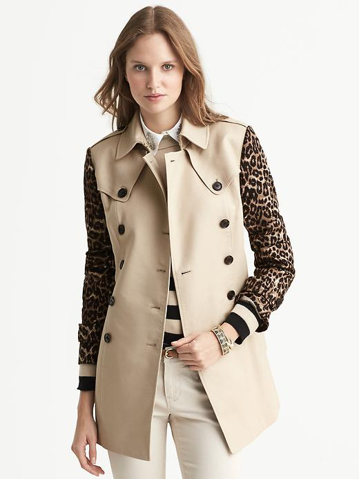 Banana Republic Cheetah Sleeve Trench - Honey gold - Banana Republic Canada