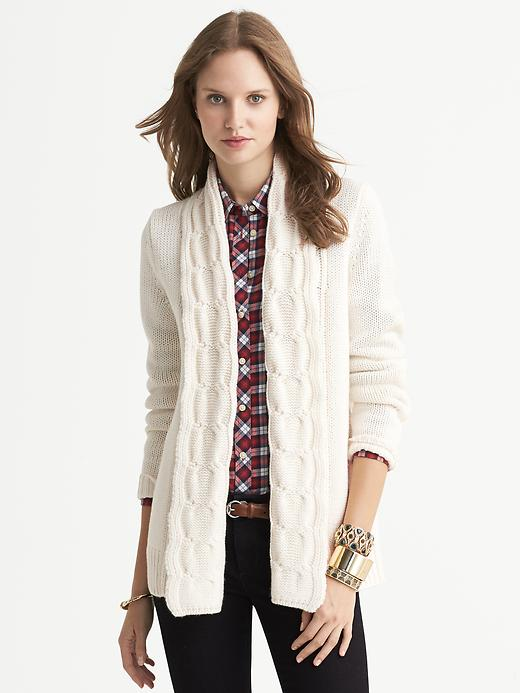 Banana Republic Chunky Cable Knit Open Cardigan - Cocoon - Banana Republic Canada