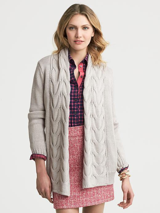 Banana Republic Chunky Cable Knit Open Cardigan - Tumbled pebble - Banana Republic Canada