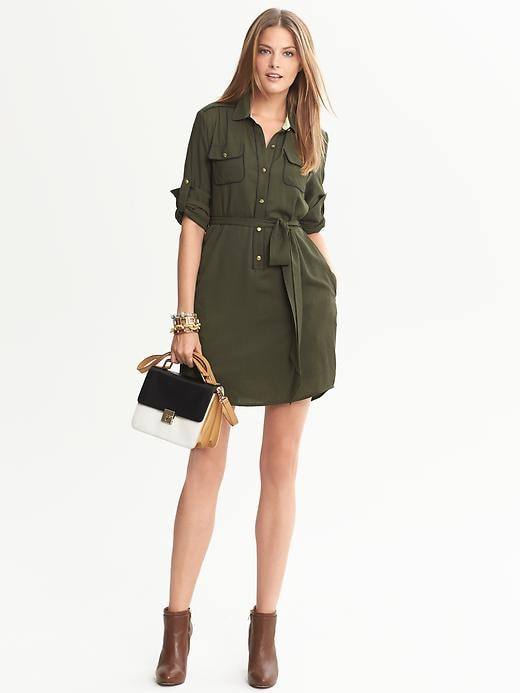 Banana Republic Piped Shirtdress - Peat green - Banana Republic Canada