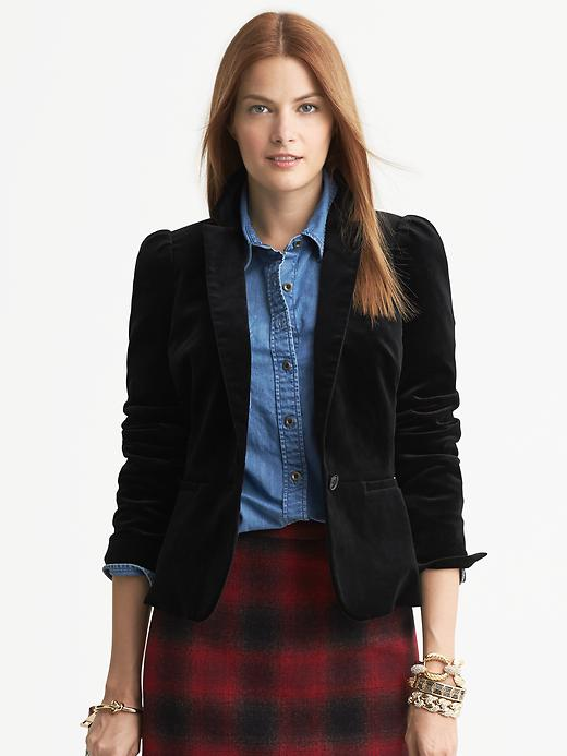 Banana Republic Black Velvet Puff Sleeve Blazer - Black - Banana Republic Canada
