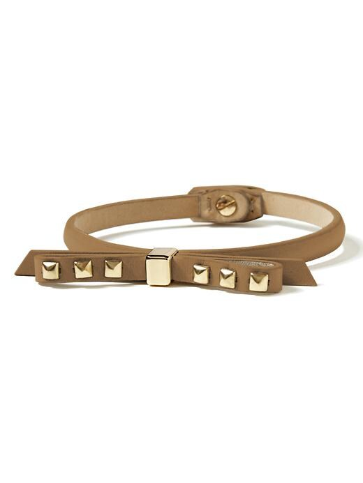 Banana Republic Leather Bow Bracelet - Camel - Banana Republic Canada