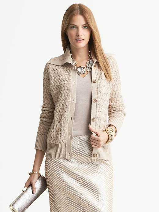 Banana Republic Basket Stitch Sweater Jacket - Tumbled pebble - Banana Republic Canada