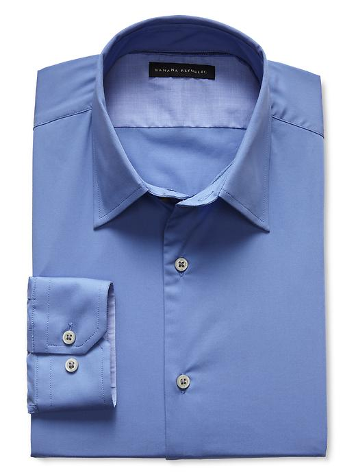 Banana Republic Slim Fit Blue Stretch Poplin Dress Shirt - Egatta blue - Banana Republic Canada