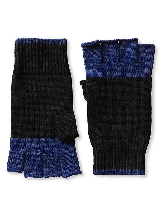 Banana Republic Colorblock Extra Fine Merino Wool Fingerless Glove - Black/cobalt - Banana Republic Canada
