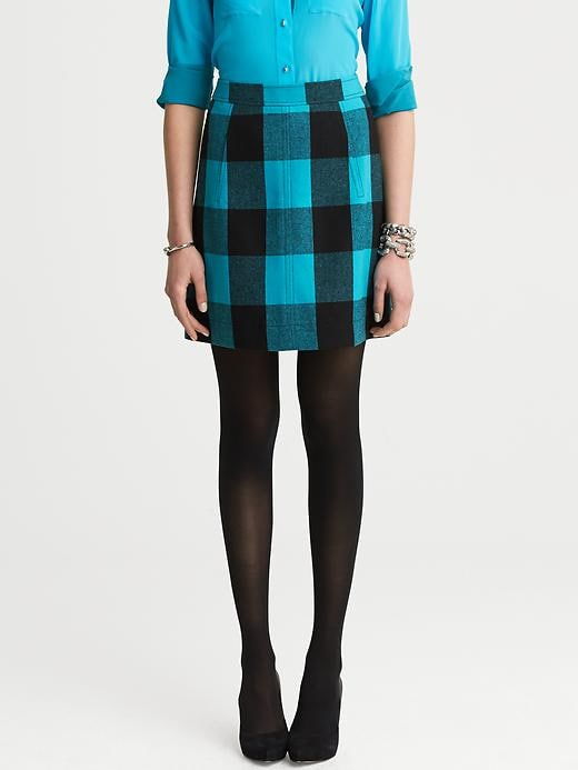 Banana Republic Buffalo Check Skirt - Totally turquoise - Banana Republic Canada