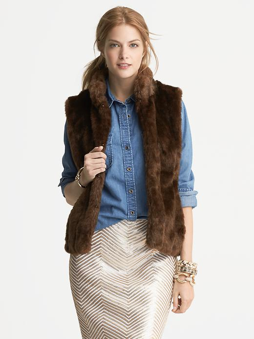 Banana Republic Brown Faux Fur Vest - Brown - Banana Republic Canada