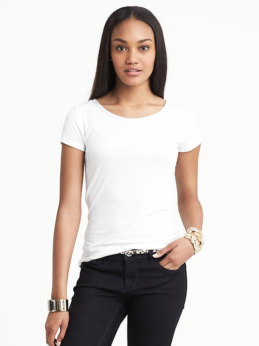 Banana Republic Luxe Touch Piped Tee - White - Banana Republic Canada