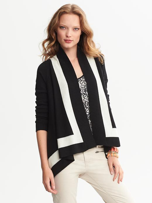 Banana Republic Colorblock Draped Open Cardigan - Black - Banana Republic Canada