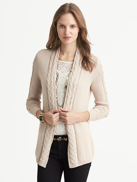 Banana Republic Cable Knit Open Cardigan - Oatmeal - Banana Republic Canada