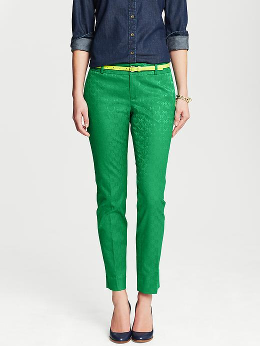 Banana Republic Camden Fit Emerald Medallion Print Ankle Pant - Emerald - Banana Republic Canada