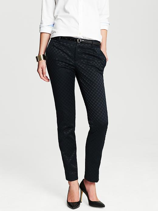 Banana Republic Camden Fit Tonal Check Skinny Ankle Pant - True navy - Banana Republic Canada