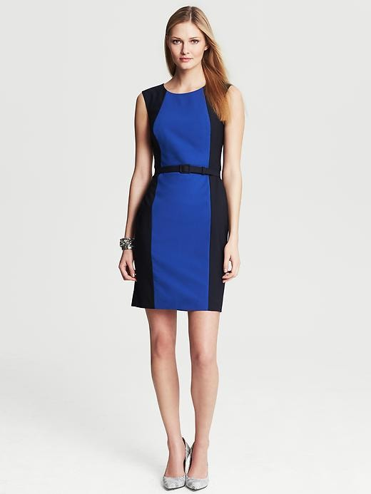 Banana Republic Colorblock Cobalt Lightweight Wool Belted Sheath - Cobalt blue - Banana Republic Canada