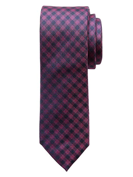 Banana Republic Gingham Silk Tie - Berry - Banana Republic Canada