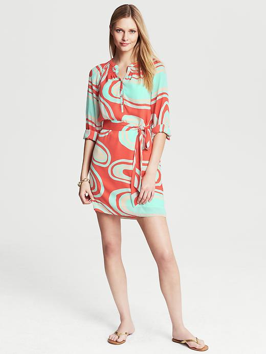 Banana Republic Abstract Print Shirtdress - Blood orange - Banana Republic Canada