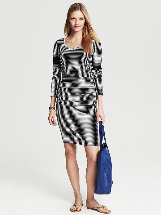 Banana Republic Ruched Navy Striped Dress - Navy - Banana Republic Canada