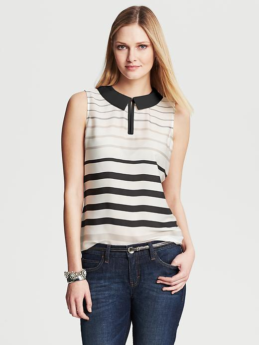 Banana Republic Multi Stripe Collared Popover Blouse - Cocoon - Banana Republic Canada