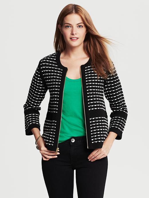 Banana Republic Basketweave Zip Front Sweater Jacket - Black - Banana Republic Canada