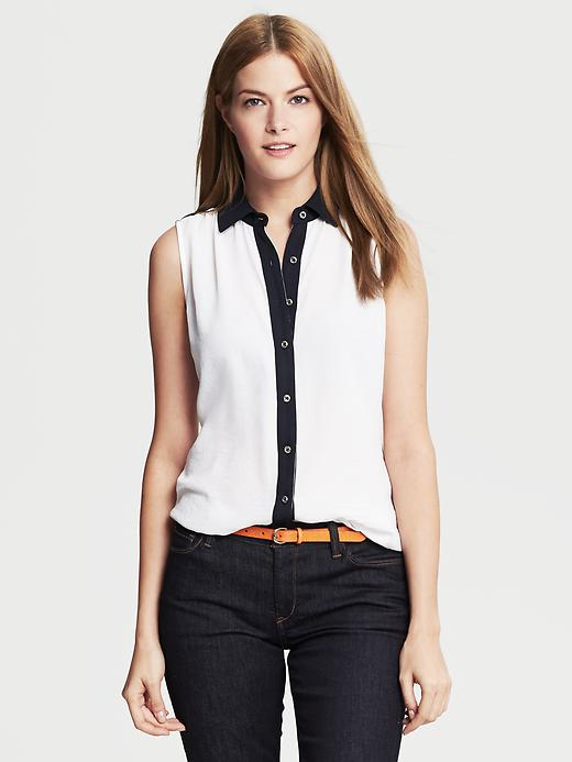 Banana Republic Colorblock Sleeveless Blouse - White - Banana Republic Canada