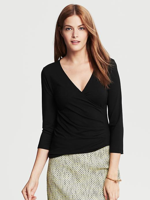 Banana Republic Black Faux Wrap Top - Black - Banana Republic Canada