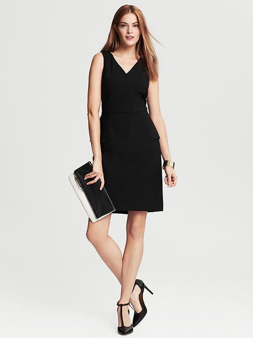 Banana Republic Black Lightweight Wool Peplum Dress - Black - Banana Republic Canada