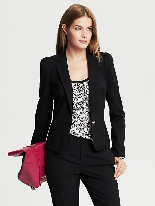 Banana Republic Black Lightweight Wool Puff Sleeve Blazer - Black - Banana Republic Canada