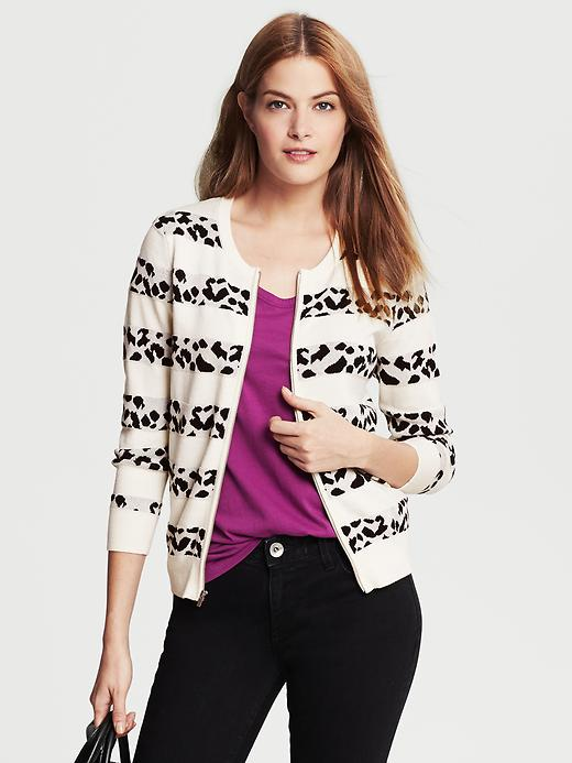 Banana Republic Animal Jacquard Stripe Zip Cardigan - Black - Banana Republic Canada