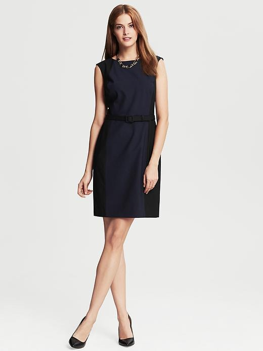 Banana Republic Navy Colorblock Lightweight Wool Belted Sheath - True navy - Banana Republic Canada