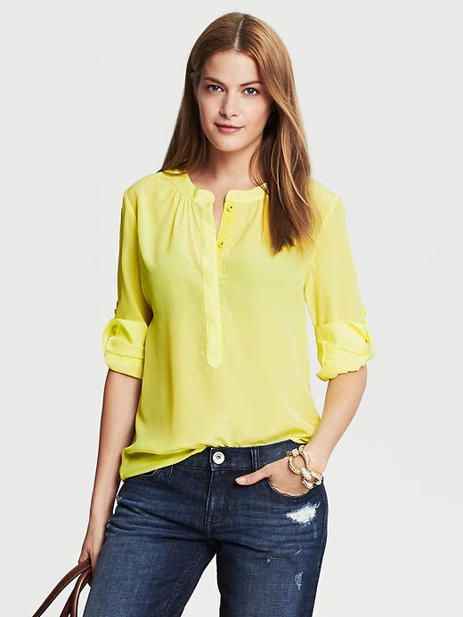 Banana Republic Silk Snap Front Blouse - Deep neon yellow - Banana Republic Canada