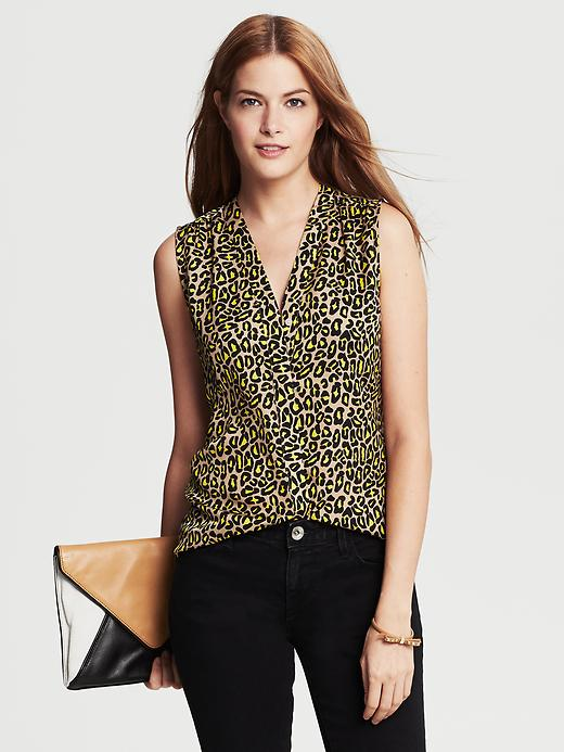 Banana Republic Animal Print Sleeveless Blouse - Mojave beige - Banana Republic Canada