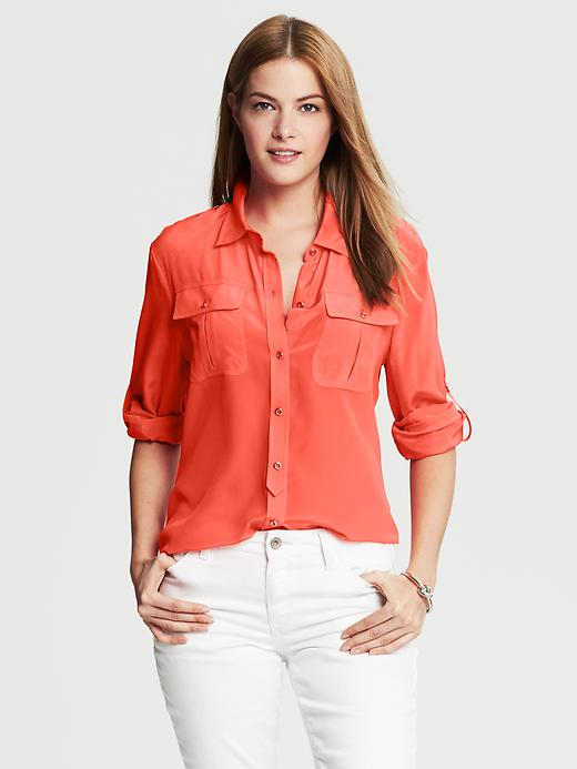 Banana Republic Silk Utility Blouse - Blood orange - Banana Republic Canada