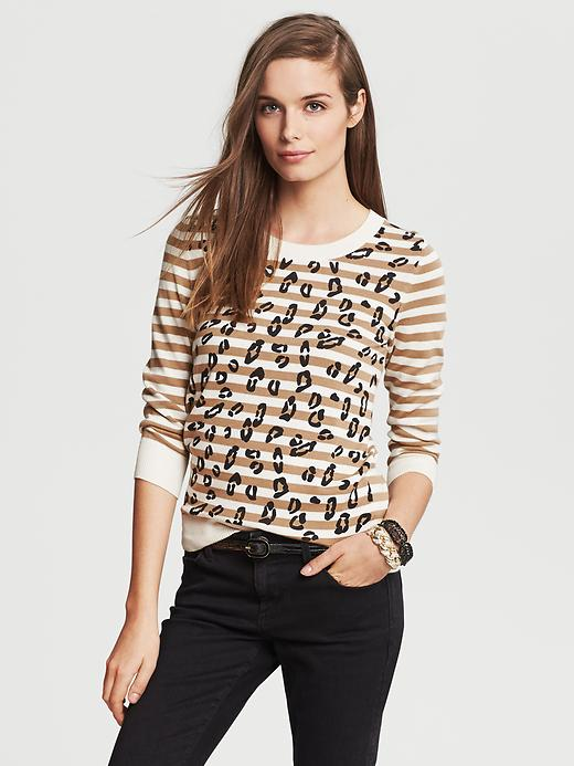 Banana Republic Animal Print Striped Pullover - Cocoon - Banana Republic Canada