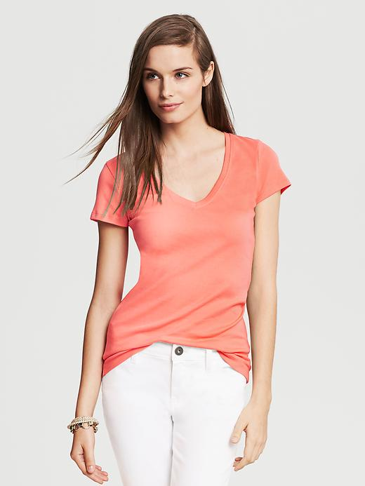 Banana Republic Timeless V Neck Tee - Coral capri - Banana Republic Canada