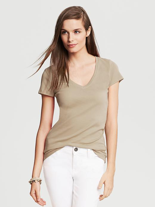 Banana Republic Timeless V Neck Tee - Fall khaki - Banana Republic Canada