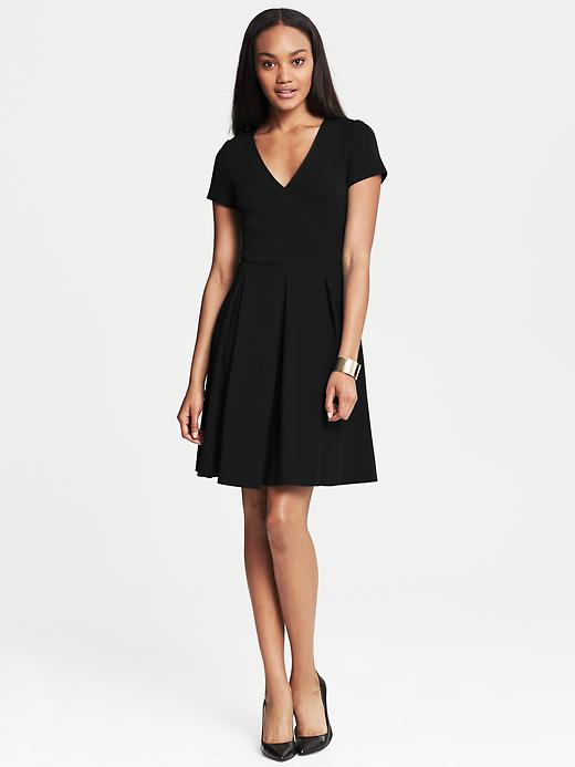 Banana Republic Ponte Pleated Fit And Flare Dress - Black - Banana Republic Canada
