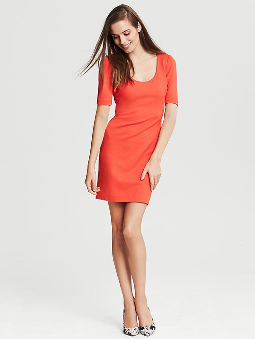 Banana Republic Ponte Three Quarter Sleeve Dress - Geo red - Banana Republic Canada