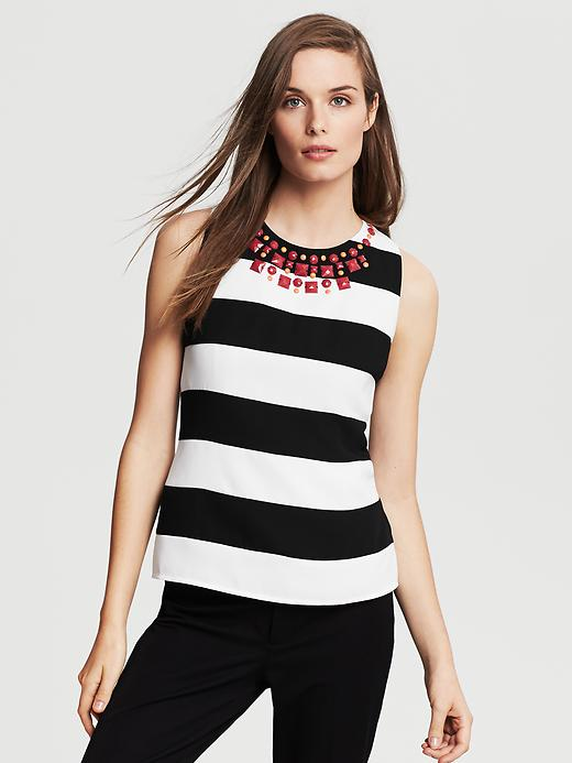 embellished striped tank
