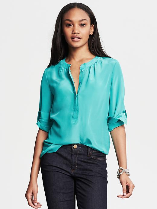 Banana Republic Silk Snap Front Blouse - Cancun turquoise - Banana Republic Canada