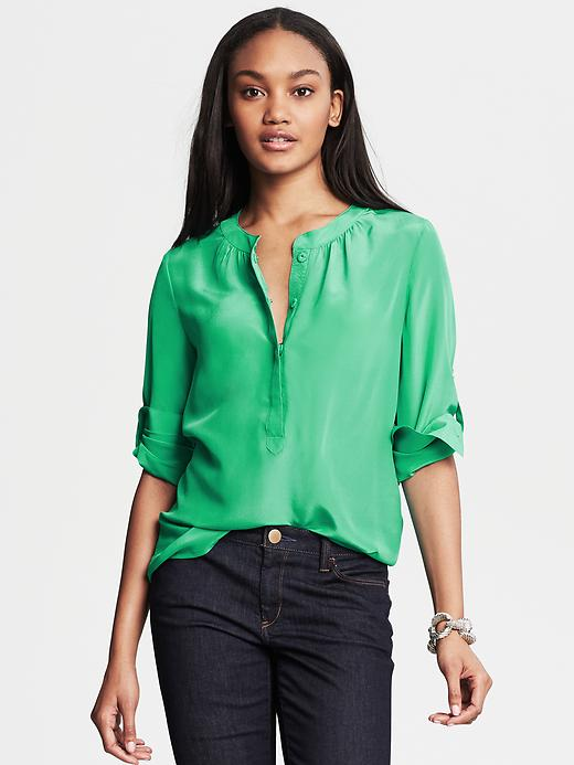 Banana Republic Silk Snap Front Blouse - Emerald - Banana Republic Canada
