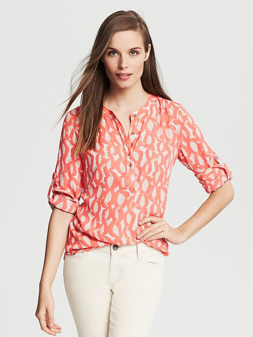 Banana Republic Abstract Print Roll Sleeve Blouse - Blood orange - Banana Republic Canada