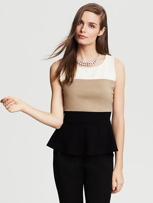 Banana Republic Colorblock Peplum Top - Neutral - Banana Republic Canada