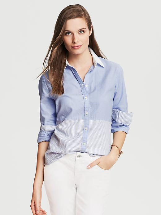 Banana Republic Mixed Stripe Oxford Shirt - White/blue - Banana Republic Canada