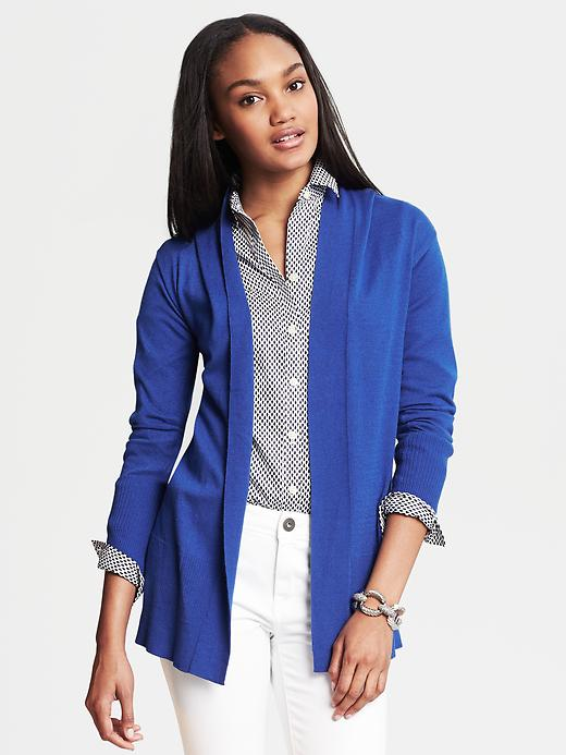 Banana Republic Ribbed Open Cardigan - Tanzanite gem - Banana Republic Canada