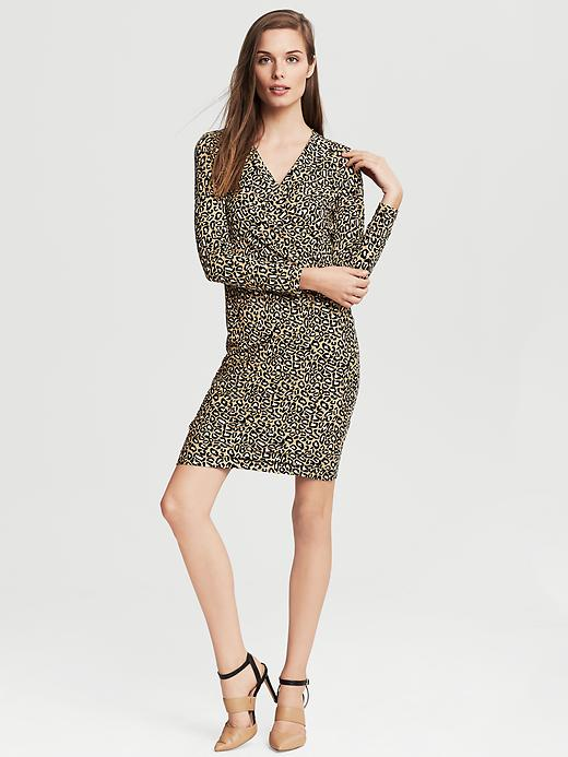 Banana Republic Leopard Print Faux Wrap Dress - Mojave - Banana Republic Canada